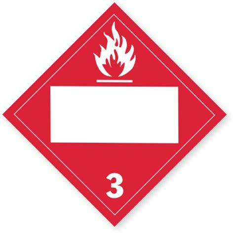 class 3 flammable liquids placard blank tagboard