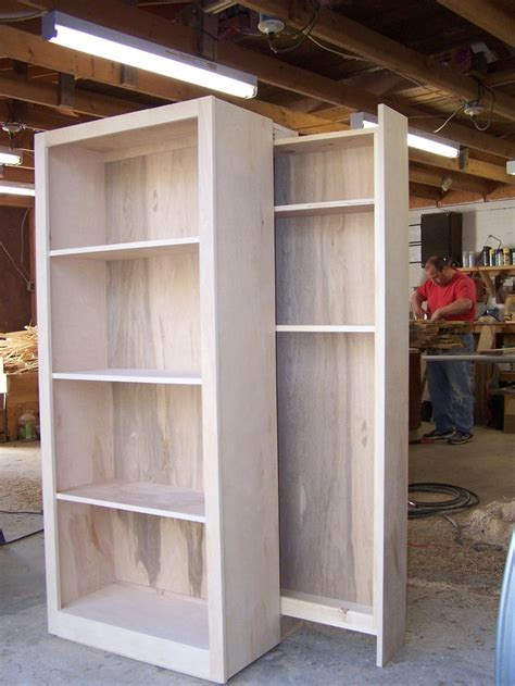 birch bookcase whith hidden gun rack   wood