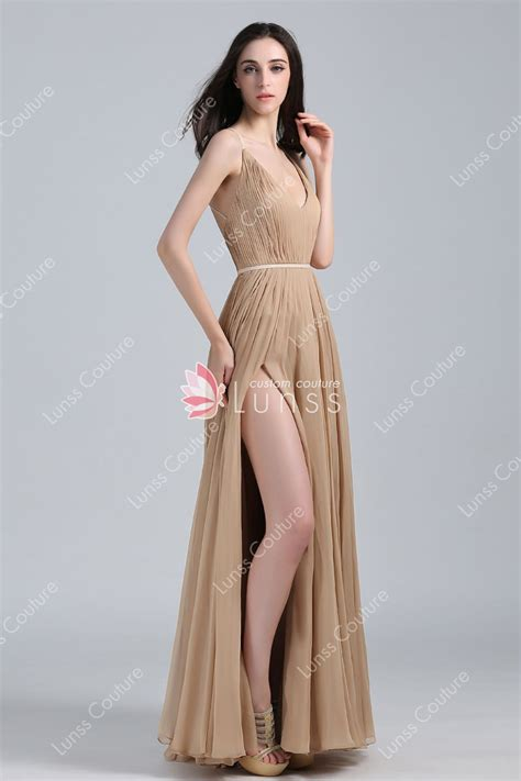 pleated chiffon  neckline thigh high slit   long celebrity prom dress lunss