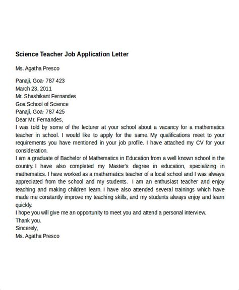 covering letter format for teaching application application letter for templates 12 free