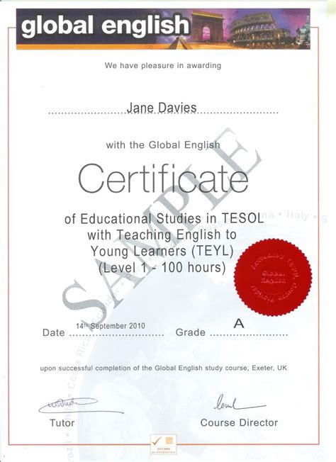 Certificate Of Studentship Global Engineer 100 hour level 2 tesol with learners global