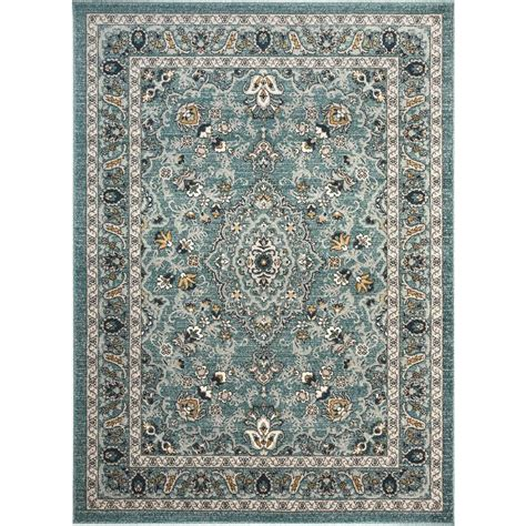 3 x 5 bathroom rugs tayse rugs kensington aqua 5 ft 3 in x 7 ft 3 in indoor area rug kns1219 5x8 the home depot