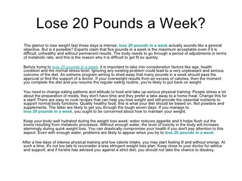 How To Shed by Lose 20 Pounds A Week