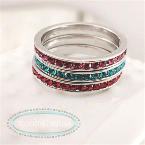 sterling silver stackable name birthstone rings woobie beans