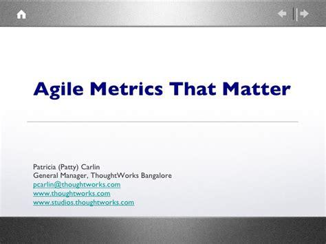 metrics matter agile metrics that matter