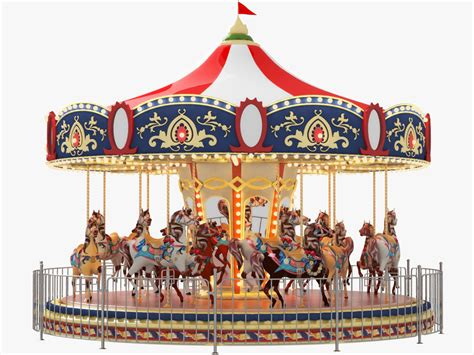 Merry Go carousel carrousel merry go ride 3d model animated