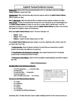 Citing Evidence Worksheet by Common Citing Textual Evidence Lesson Plans