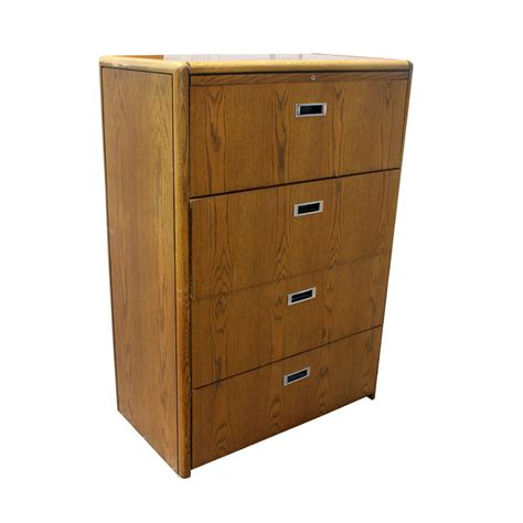 Vintage Four Drawer Wood File Cabinet Ebay Wood Filing Cabinets