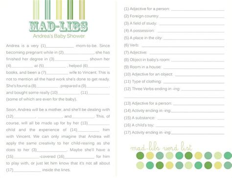 template for baby shower mad libs event photography andrea s baby shower alana richelle