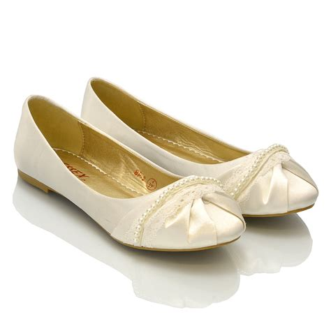 Bridal Pumps Ivory by New Womens Lace Pearl Wedding Bridal Ivory White Ballerina