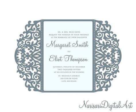 Free Wedding Gate Fold Card Template Silhouette by 5x7 Swirl Gate Fold Wedding Invitation Card Laser Cut