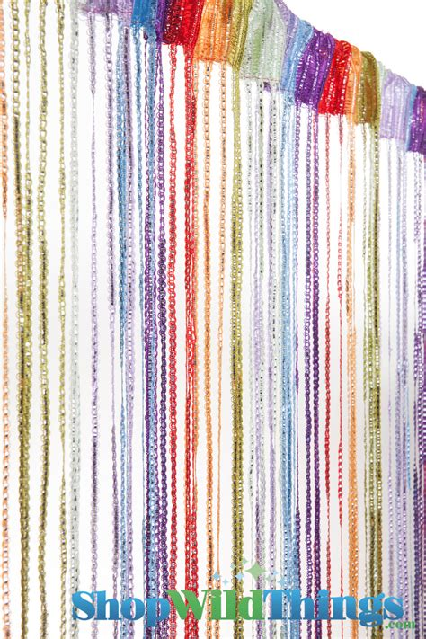 Tension Rod Curtains Rainbow String Curtain With Silver Threads And Tension Rod