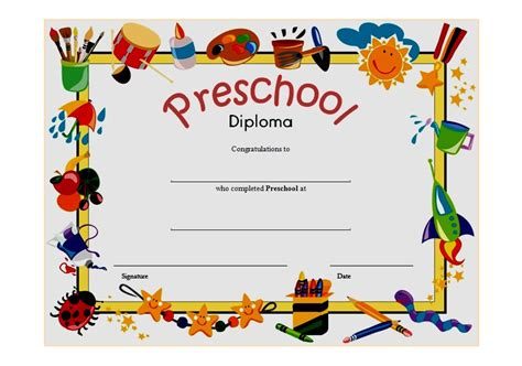 preschool graduation certificate template free preschool diploma certificate template 6 the best