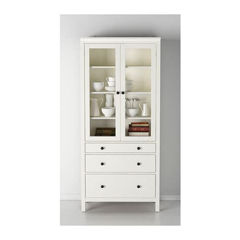 glass door cabinet with drawers hemnes glass door cabinet with 3 drawers white stain