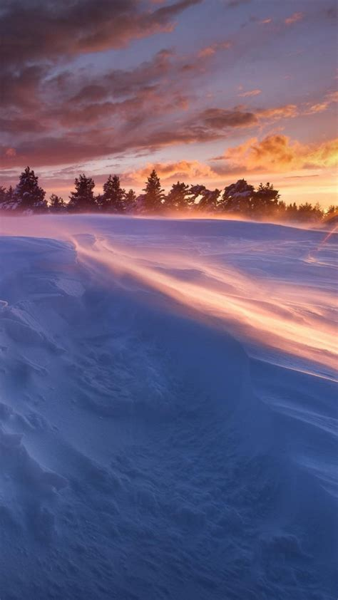 sunset winter snow iphone  wallpapers hd