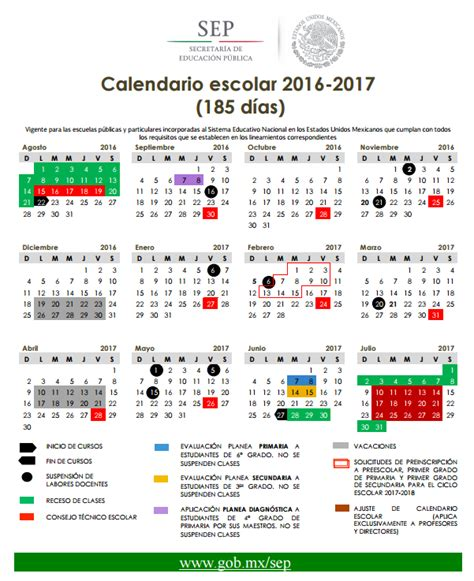 Calendario Escolar Unam 2015 16 Calendarios Escolares 2016 2017 Escolar Mx