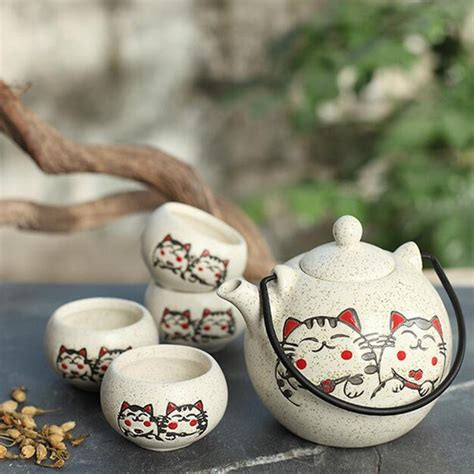 Cangkir Set Tea Coffee Set 350ml japanese tea set five ceramic tea set with painted lucky cat business gifts
