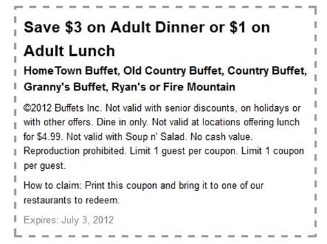 Old Country Buffet 1 3 Off Printable Coupon Country Buffet Coupon
