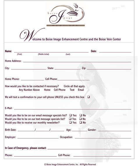 Salon Client Information Sheet Template by Boise Image Medi Spa New Client Forms