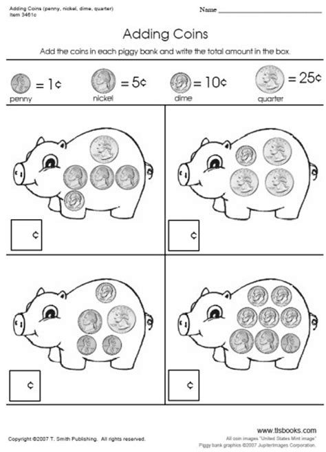 kindergarten activities coins adding coins worksheets on the first worksheet in this