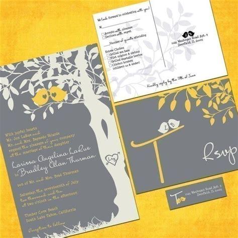 yellow and grey wedding invites yellow and gray birds wedding invitations sle packet