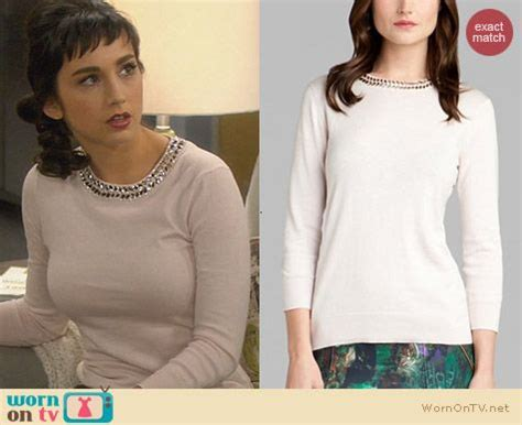 wornontv: mandy's sweater with embellished neckline and