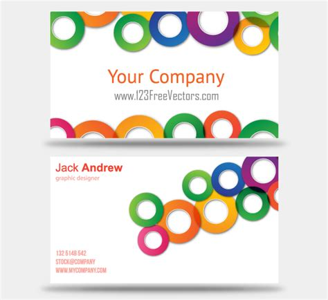 colorful business card templates free colorful business card vector templates 123freevectors