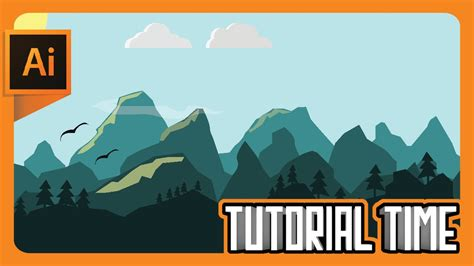 tutorial illustrator landscape tutorial time how to make flat landscape wallpaper