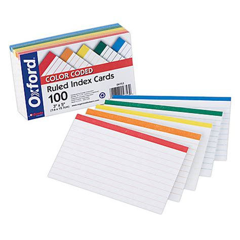 printable index cards color oxford color coded index cards 3 x 5 assorted colors pack