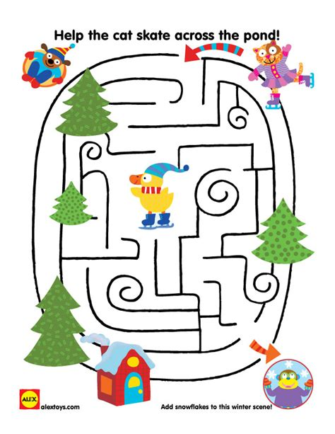 printable mitten maze winter activity sheets for kids alexbrands com