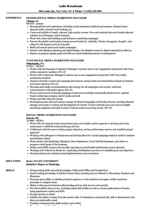 Social Media Manager Resume by Social Media Marketing Manager Resume Sles Velvet
