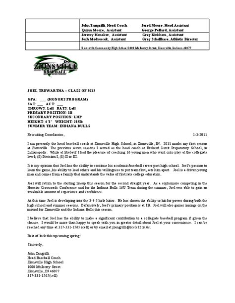 Recommendation Letter For College From Coach Coach Zangrilli S Letter Of Recommendation Joel Trewartha