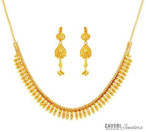 gold rate pattern in india 22k gold necklace set ajns59564 elegant 22k gold