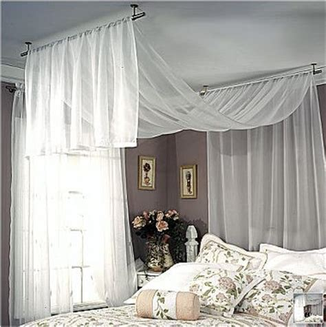 draping fabric over curtain rod sheer fabric draped over the bed room ideas pinterest