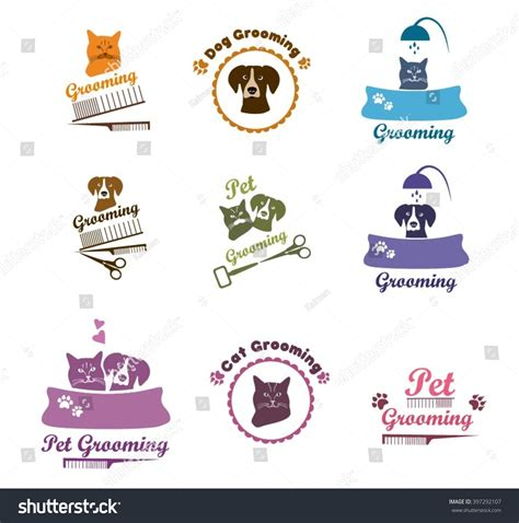 Pet Labels Veterinarian Icon Set Pet Grooming Dog Grooming Labels Pet Badges Pet Grooming Or Veterinarian Badge Template