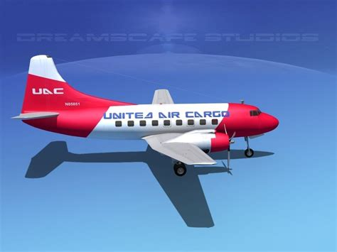 martin 404 united air cargo 3d model rigged max obj 3ds lwo lw lws dxf stl cgtrader