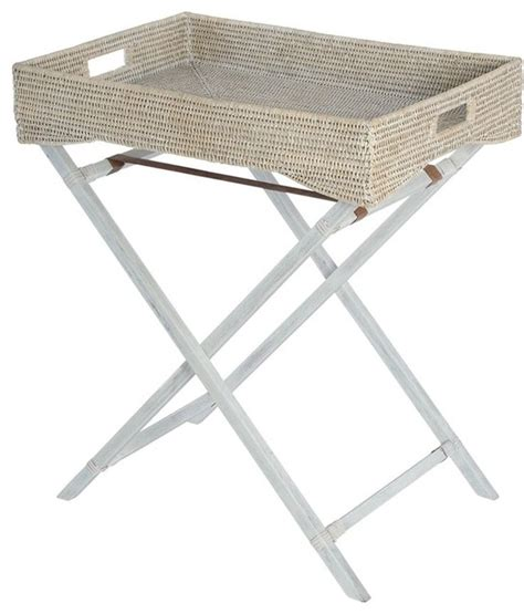 Folding Butlers Tray Table La Jolla Handwoven Rattan Butler Tray With Folding Wood Stand White Wash Style Tv