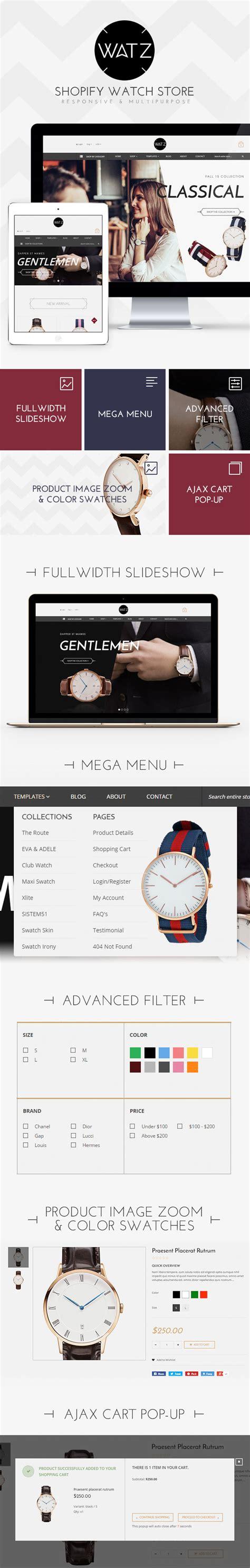 shopify upgrade theme watch store responsive shopify theme watz ecommerce
