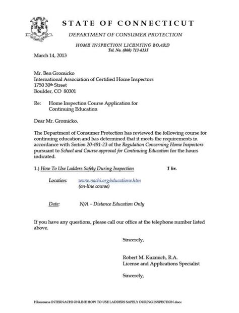 appointment letter for ladder inspector how to become a home inspector in connecticut internachi