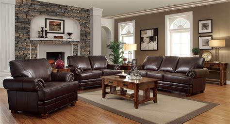coaster colton bonded leather stationary living room set  brown