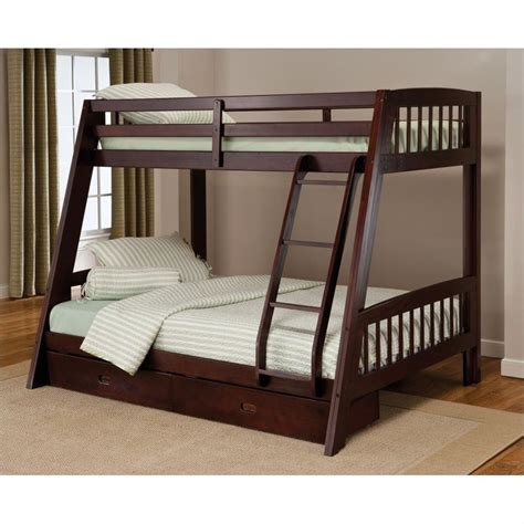 espresso bunk bed rockdale twin over full bunk bed set in espresso 1668bb