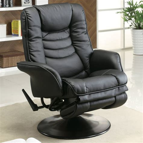 black faux leather recliner shop coaster fine furniture black faux leather swiveling
