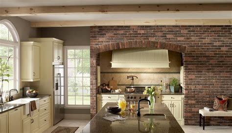 Cote De Texas More brick accent wall kitchen