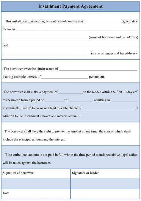 installment payment agreement template installment payment agreement template free
