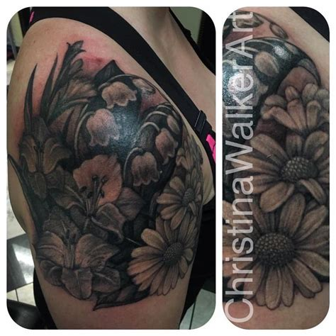 quarter sleeve flower tattoo black and gray floral quarter sleeve by christina walker