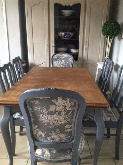 french blue shabby chic dining table and chairs toile