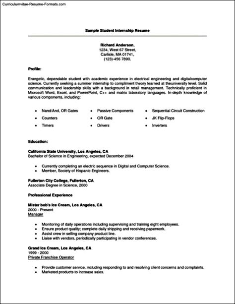 Curriculum Vitae Exles For Students by 12024 Resume Exles For College Students Internships