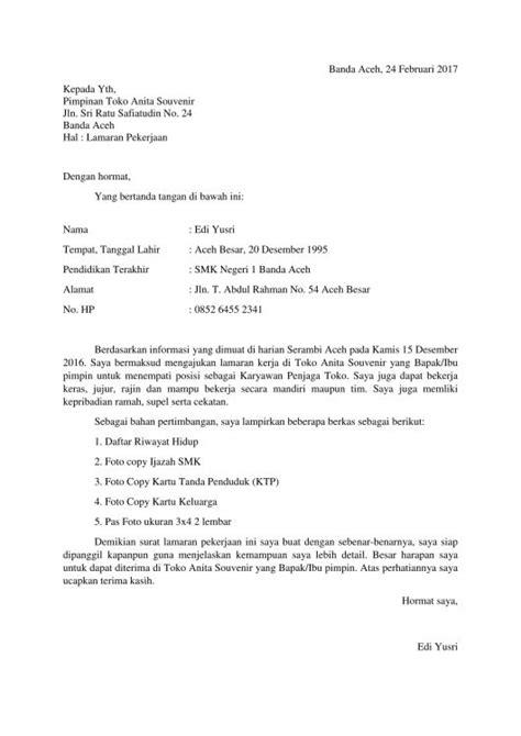 Nama Lop Untuk Lamaran Pekerjaan by 27 Contoh Surat Lamaran Kerja Yang Baik Dan Benar Umum