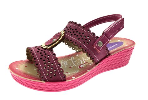Wedges Flower sandals adjustable low wedge shoes