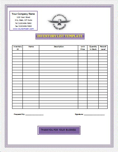 Inventory List Template Free Microsoft Word Templates Free Microsoft Word Templates Inventory Checklist Template Word